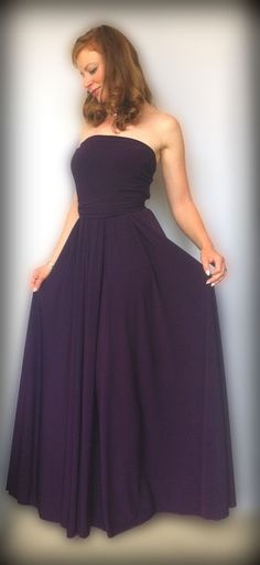 Bridesmaids dress in dark purple color   floor length  by Linaline