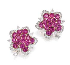 BULGARI 18 Karat Gold, Pink Sapphire and Diamond Earclips