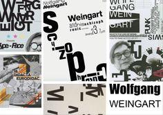 """Wolfgang Weingart: Zijn werk typeert de Swiss-style en New Wave. Zijn werken kan je herkennen door zon """"chaotische"""" lay-outs, zijn schreefloze fonts en dat hij soms een steunkleur gebruikt, hij werkt ook soms met collages. Al is zijn werk wat """"chaotisch"""" geeft het toch een mooie eindresultaat weer. Ik wil graag verder werken met zijn stijl omdat dit een uitdaging is voor mij en omdat ik het best wel mooi vind, ik ben niet erg gekend in zijn stijl en deze wil ik dan graag uitproberen."""