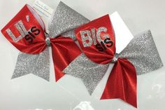 Bows by April - The BIG SIS LIL SIS Personalized Mystique and Glitter Cheer Bows Set, $30.00 (http://www.bowsbyapril.com/the-big-sis-lil-sis-personalized-mystique-and-glitter-cheer-bows-set/)