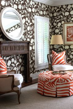 ..Zebra! Love the pop of orange!  Quadrille, China Seas, Alan Campbell, Home Couture