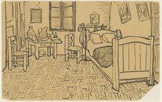 Schets van 'De slaapkamer', Vincent van Gogh