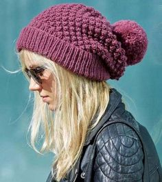 Free knitting pattern for Blackberry Stitch Slouchy Beanie with pompom More