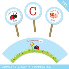 Bug Garden party  Personalized DIY printable cupcake by Chickabug, $12.00