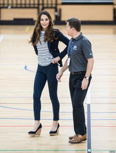 Kate Middleton Cute Outfit - Volleyball; Blue Blazer; Striped Shirt; Wedges