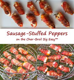 Sure, I've made bacon-wrapped jalapeno poppers on my Char-Broil Big Easy. A lot of times. And I love them. But not everyone loves a little kick in their appetizers like I do, so that's when these sausage-stuffed peppers take the stage. The peppers get a nice little char on them. They have a little sweetness to them. The sausages bring a wonderful smokiness, and they kind of 'pop' when you bite into them. That's a bit unexpected. The cream cheese? Well, it's creamy. All wrapped in bacon…