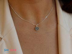 Druzy Necklace / Silver Druzy Pendant Necklace / Drusy