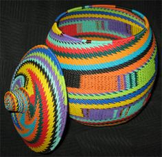 This Basket Is Based On The Traditional Covered Zulu Ukhamba Or Beer Basket  Contemporary Zulu Telephone Wire Baskets. Each Is Very Firmly Made And ...