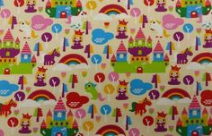 Prinzessin Einhorn Einhörner Regenbogen Jersey Kinderstoff Coupon 1m x 1,50m