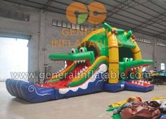 Multi fun crocodile bouncer inflatable #inflatableslide #inflatablebouncer