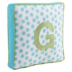 Letter Pillow - Turquoise/Lime Green