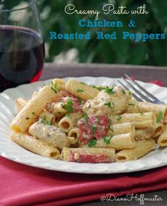 This Creamy Pasta Recipe with Chicken and Roasted Red Peppers is easy to make takes less than 30 minutes!  #sponsored