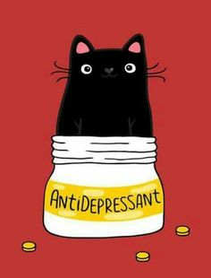 Black cat meme - cat's are like anti-depressants.Tap the link to check out great cat products we have for your little feline friend! I Love Cats, Cute Cats, Funny Cats, Crazy Cat Lady, Crazy Cats, Crazy Dog, Gatos Cats, All About Cats, Here Kitty Kitty