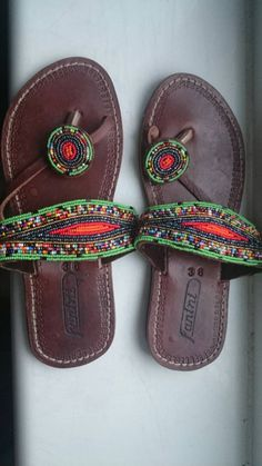 african leather sandals made with masai beads. Available as per size displayed on item. Beaded Shoes, Beaded Sandals, Ladies Accessories, Fashion Accessories, Decorate Shoes, Festival Style, Slipper Boots, Cute Sandals, Slippers