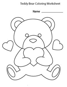 Teddy Bear Coloring Pages, Heart Coloring Pages, Disney Coloring Pages, Coloring Pages To Print, Free Printable Coloring Pages, Colouring Pages, Coloring Pages For Kids, Kids Coloring, Color Worksheets For Preschool
