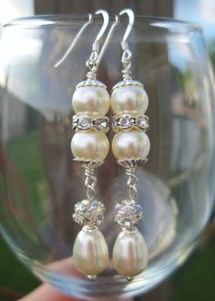 Swarovski Pearl and Crystal Drop Bridal by FlirtyCajunJewels, $15.00  my newest creation!