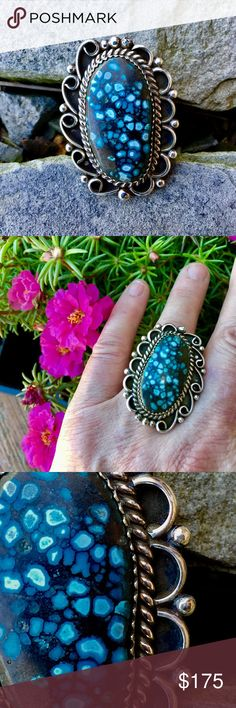 """Navajo Joe Tso Sterling Chinese Turquoise Ring Hand Wrought in Sterling Silver by talented & popular Navajo Silversmith, Joe Tso, This fabulous Ring created to showcase a cabochons of very high grade Chinese Turquoise, 16x29mm, Saw tooth Bezel set with silver Rope design, great workmanship showing arches, loops, twirls and silver balls, top of Ring is beautifully scalloped, measuring 1 1/2"""" x 1 1/4"""", Hallmarked Tso and Sterling, Triple Shank, size 8.5, 14.g Navajo Joe Tso Jewelry Rings"""