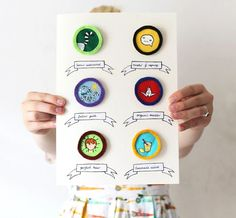 """Now that's pretty: DIY Merit Badges  These are painted on felt.  """"Best inquiry""""  #badges"""