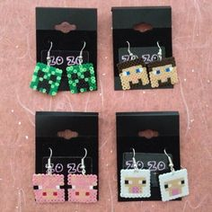 Minecraft hama perler bead earrings by ZoZoTings Perler Beads, Perler Earrings, Fuse Beads, Beads And Wire, Bead Earrings, Minecraft Perler, Hama Beads Minecraft, Christmas Bazaar Crafts, Pixel Beads