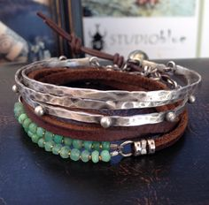 Studio Blue Jewelry silver cuff/bracelets and leather wrap chrysoprase bracelet Funky Jewelry, I Love Jewelry, Leather Jewelry, Turquoise Jewelry, Metal Jewelry, Boho Jewelry, Beaded Jewelry, Silver Jewelry, Jewelry Accessories