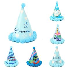 Blue Paper Cone Hats Dress Up Girls Boys My First Birthday Party Supplies Decor