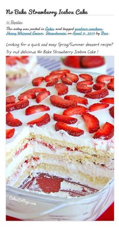 Strawberry no bake ice box cake photo