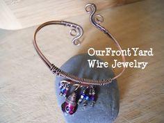 Oxidized Copper Bangle Wire Wrapped Cuff Bracelet by OurFrontYard, $29.77