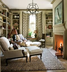 cozy reading room in front of the fire