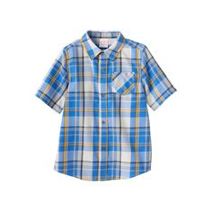 Boys 4-10 Jumping Beans® Plaid Button-Down Shirt, Boy's, Size: 7X, Med Blue
