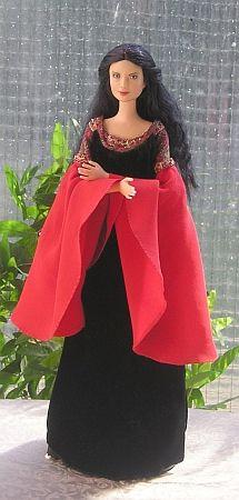 Arwen in blood red dress - ooak Barbie doll  free sewing pattern