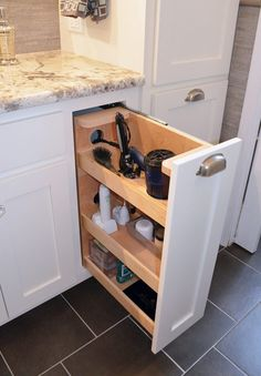 Great way to clear clutter from master bath counter. Transitional Style Master Bath Renovation - traditional - bathroom - charlotte - Kustom Home Design Restroom Cabinets, Bathroom Cabinets, Bathroom Basin, Bathroom Fixtures, Bling Bathroom, Bathroom Lighting, Bathroom Renos, Bathroom Renovations, Bathroom Ideas