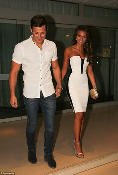 Michelle Keegan in Lipsy - black and white bandeau dress