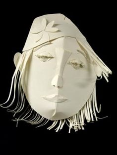 """White on White"" paper sculpture masks on Incredible Art Department Sculpture Lessons, Sculpture Art, Cardboard Sculpture, Paper Sculptures, Cardboard Houses, Middle School Art Projects, 6th Grade Art, Masks Art, Greek Art"