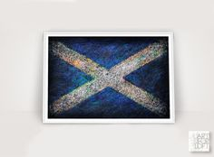ArtForLoft via etsy Scottish Distressed Flag, Hand-Painted Flag of Scotland, Vintage Decor,Textured Art, Colorful, Rustic, Industrial Style, St Andrew's Cross