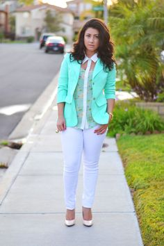 Sara's Sweet Style: Collar Top from #rue21 paired with a thrifted blazer
