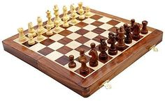 """Zap Impex® Wooden Magnetic Travel Chess Set with Staunton Pieces and Folding Game Board 12\"""" Inch - Handmade By Artisans in India * You can find out more details at the link of the image."""