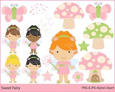 fairy clipart fairies digital clip art - Sweet Fairy Digital Clipart. $5.00, via Etsy.