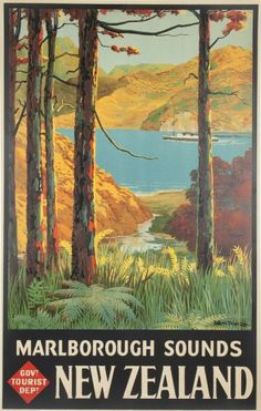 Henry Sotheran's  MITCHELL, Leonard Cornwall (1901-1971). Marlborough Sounds. New Zealand. Original lithograph with colour, linen backed, as published by the Government Tourist Department, New Zealand, c.1930.