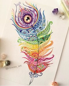 Beautiful Feather Mandala By @eyoom_art _ @artshelp