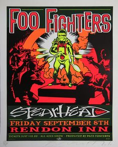 Rare Mini Print/Poster - Size: A4 (Approximately: 21 cm x 29.7 cm) 8.27 inches x 11.7 inches. Foo Fighters, Concert Posters, Poster Prints, Mini, Gig Poster