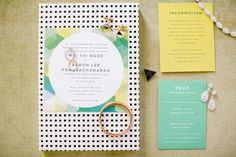 Modern whimsical wedding invitation suite - Pomp & Circumstance Events