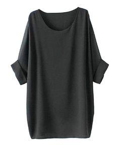 Half-sleeved Solid-tone Md-long Chiffon T-shirt