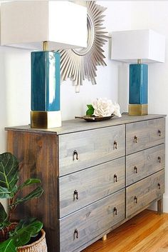 Flank matching lamps to add a pop of color to your room.