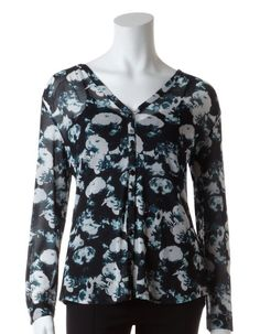 Cleo | Teal Floral Mesh Blouse with Cami #Teal #CleoFashion