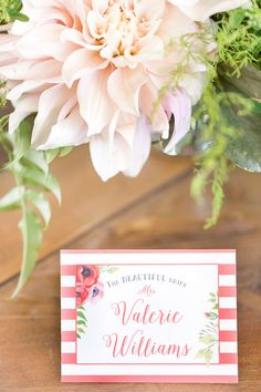 Stripes and Floral Print for Bold Escort Cards | Amy and Jordan Photography…