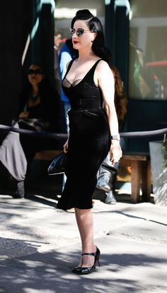 Dita Von Teese Corset Dress - Dita's velvet dress with an exposed dotted bra made us totally swoon!
