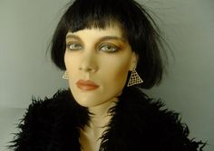 triangle earrings, vintage earrings, costume jewelry, 70s vintage earrings by vintage2049 on Etsy