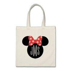 Minnie Polka Dot Head Silhouette   Monogram Tote Bag