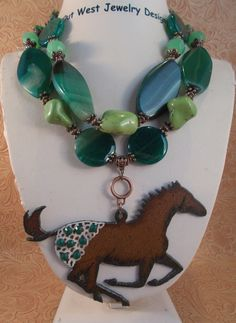 Cowgirl Necklace Set  Chunky Green Agate and Turquoise with an Appaloosa pendant by Outwestjewelry