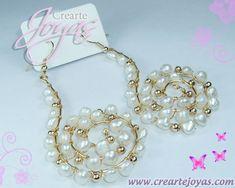 Zarcillo en forma de espiral, con Perlas Naturales Blancas, Balines y Alambre de Goldfilled American